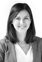 Black and white headshot of Emily M. Hill